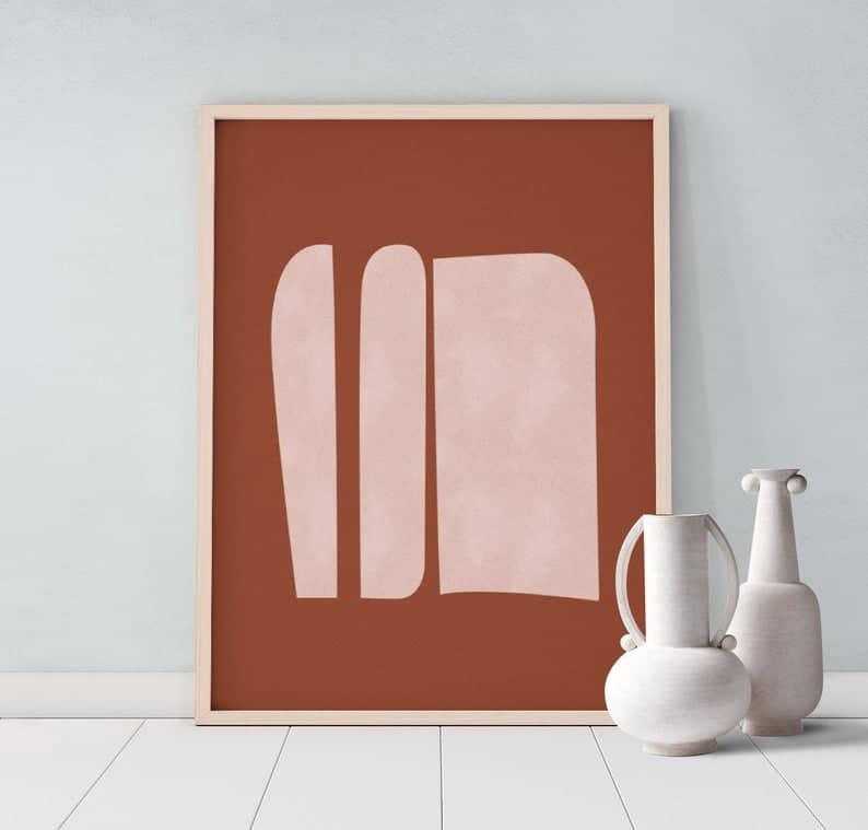 20 affiches terracotta - ocre dénichées sur Etsy www.soodeco.fr/