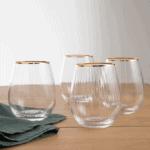 Lot de 4 verres striés www.soodeco.fr/