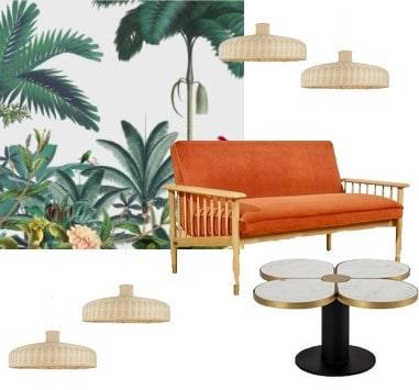 Hôtel Singulier Bordeaux décoration intérieure canapé orange table basse marbre suspension rotin