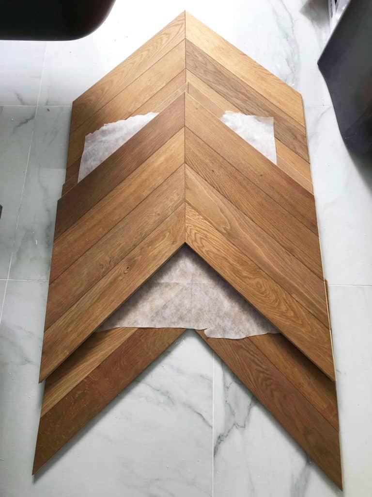 Préparation triangle pose parquet chevron