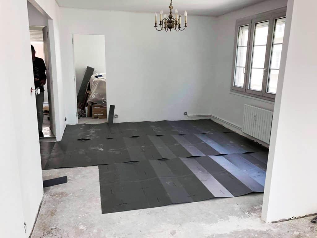 Pose sous-couche parquet salon
