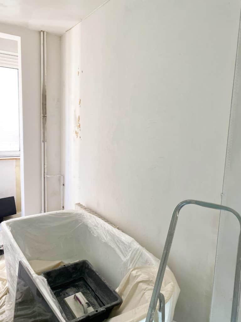 Salle de bain murs enduit lissage
