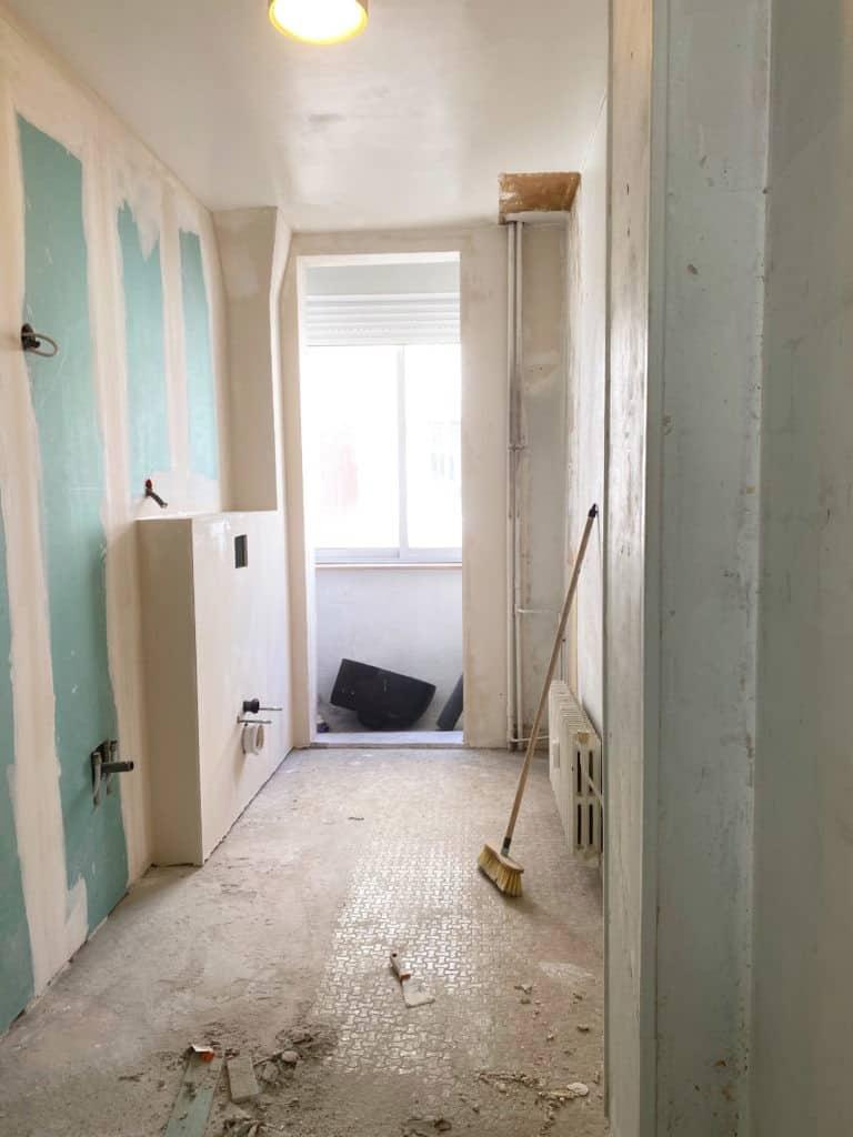 Murs salle de bain placo-plâtre et enduit