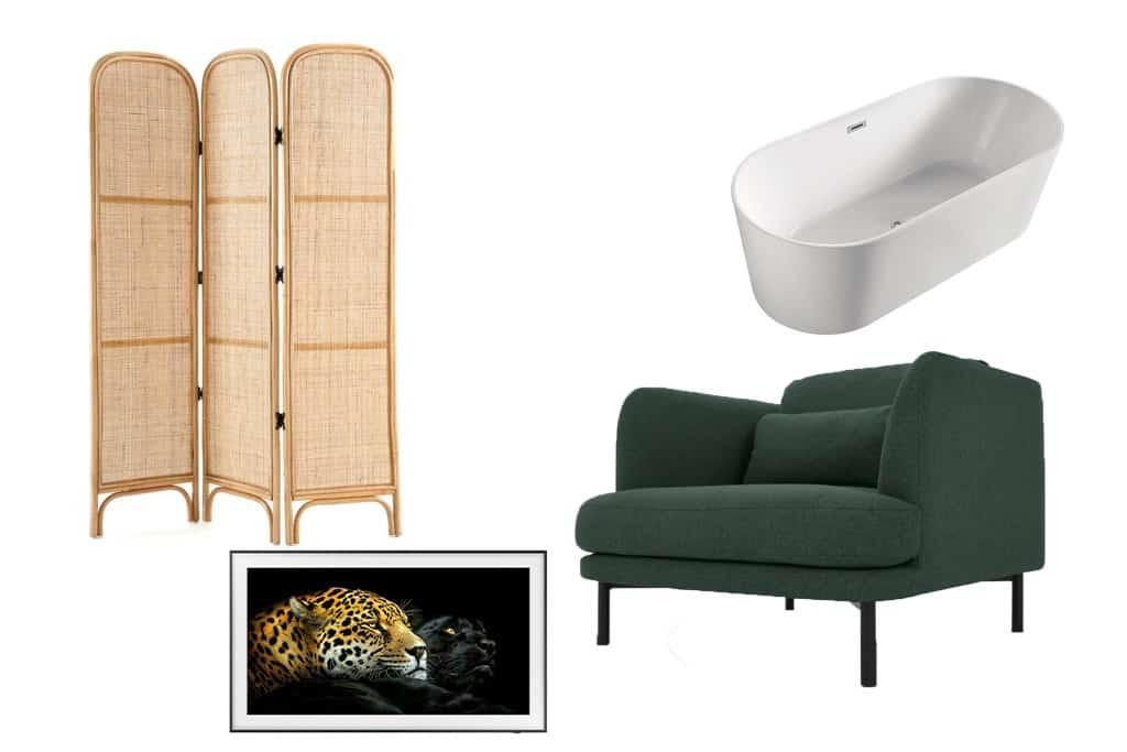 Shopping list paravent rotin baignoire ilot fauteuil vert télévision The Frame
