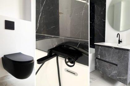 Salle de bain mobiliers noirs