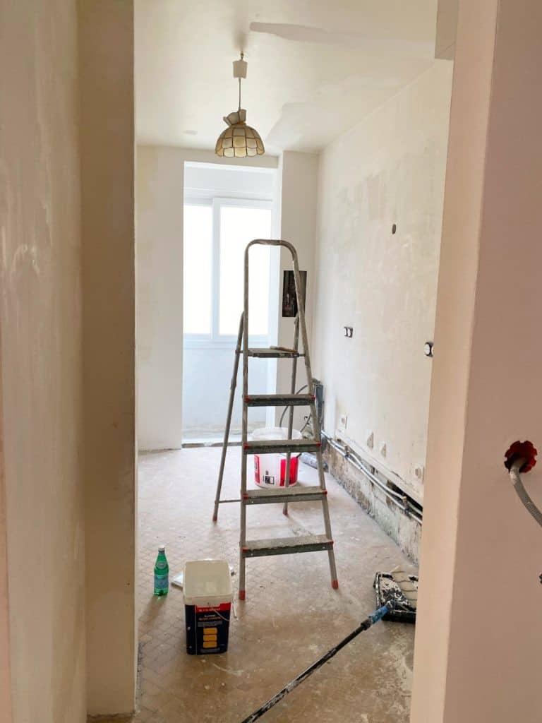 Cuisine murs finalisés enduit rénovation