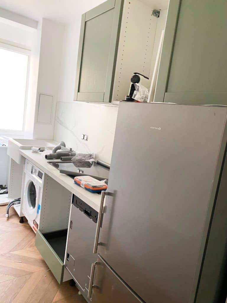 Aménagement cuisine en cours positionnement éléments muraux