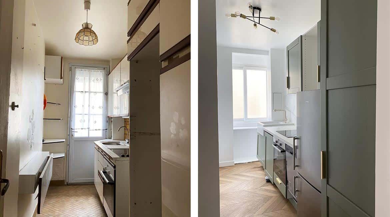 Rénovation cuisine couloir avant après cuisine verte