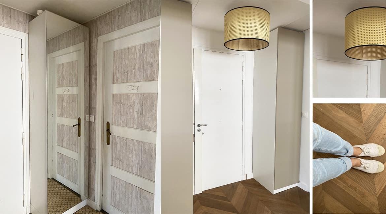 Entrée avant après appartement parisien