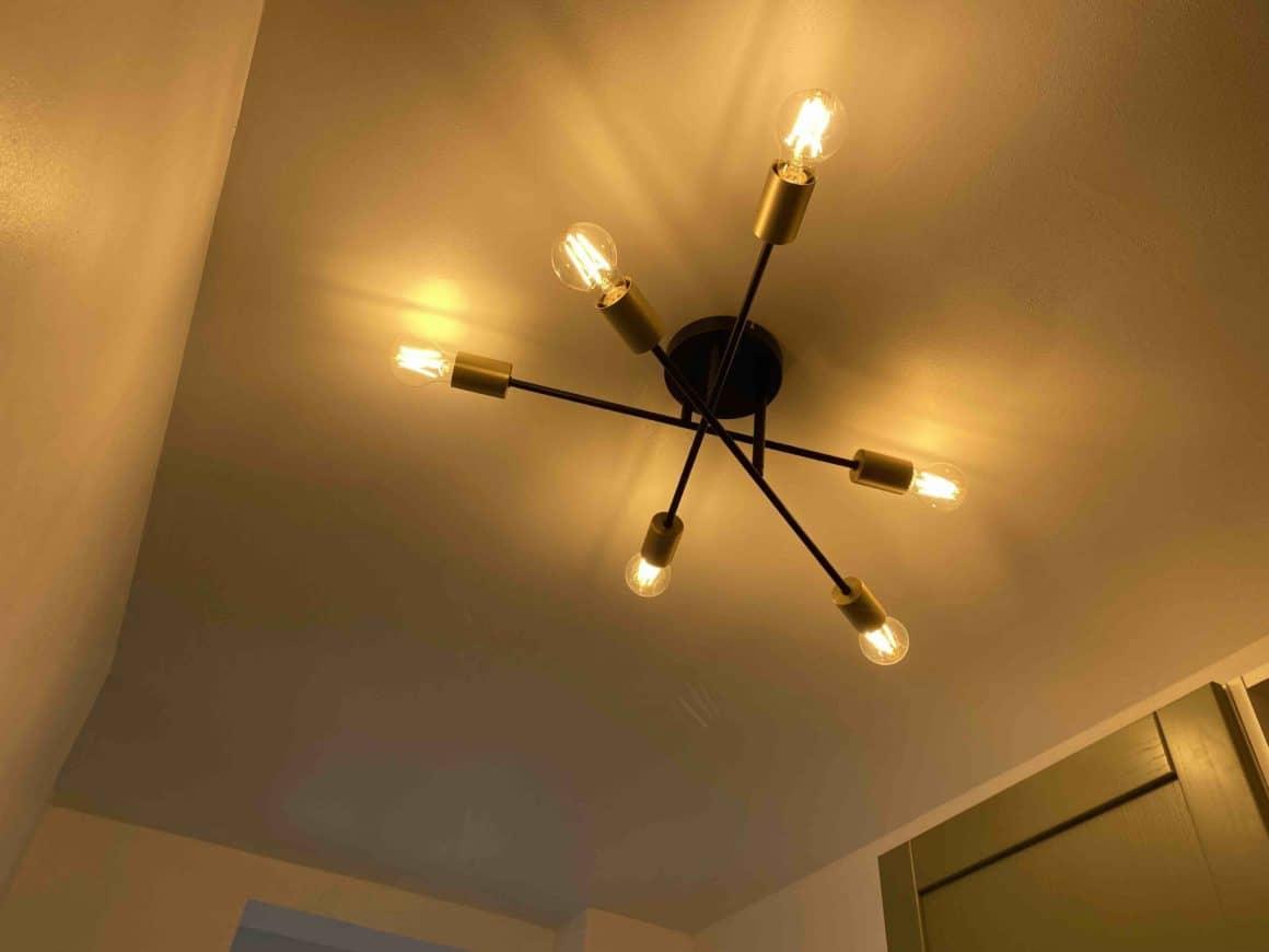 Plafonnier cross 6 lampes doré et métal noir ampoules filaments
