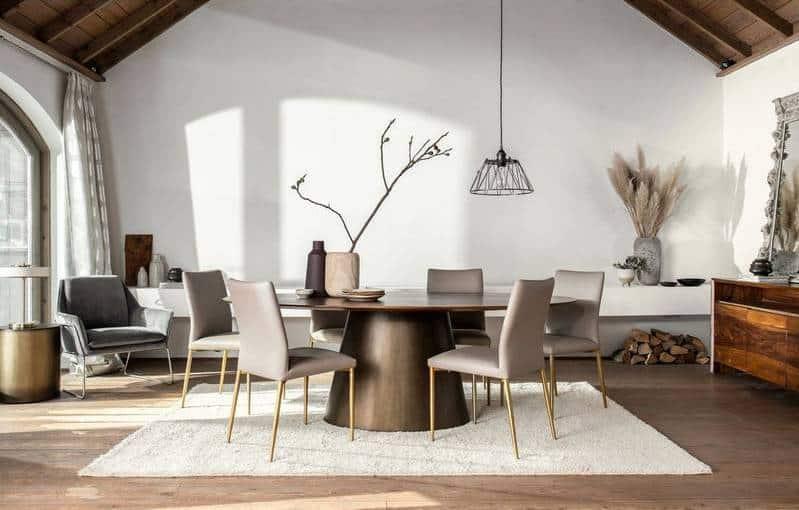 Table ovale bois effet laiton 150 cm large