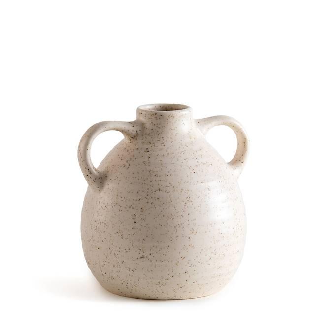 Vase jarre deux anses petit format moucheté